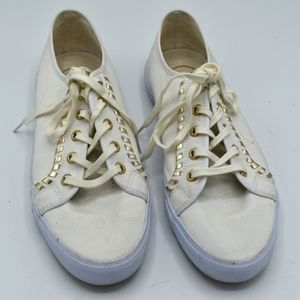 Jack Rogers lace up flat sneakers white gold trim